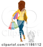 Cartoon Of A Rear View Of A Woman Carrying Shopping Bags And Walking With A Dog Royalty Free Vector Clipart