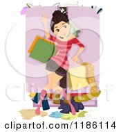 Cartoon Of A Teen Girl Fighting Against A Messy Overflowing Closet Royalty Free Vector Clipart