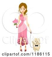 Cartoon Of A Wedding Bridesmaid Walking With A Dog Royalty Free Vector Clipart