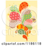 Cartoon Of Patterned Splashes On Yellow Royalty Free Vector Clipart