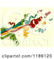 Cartoon Of Party Popper Ribbons Over Yellow Royalty Free Vector Clipart