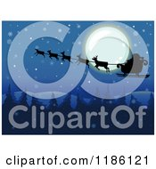 Cartoon Of A Snowy Christmas Night With Santa And His Sleigh Over The Full Moon Royalty Free Vector Clipart