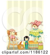 Cartoon Of A Room With Toys Against Striped Wallpaper Royalty Free Vector Clipart