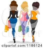 Cartoon Of A Rear View Of Three Women Walking With Shopping Bags Royalty Free Vector Clipart
