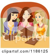 Cartoon Of A Trio Of Women Reading Restaurant Menus Royalty Free Vector Clipart