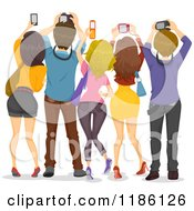 Cartoon Of A Rear View Of People Holding Up Cameras Royalty Free Vector Clipart