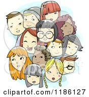 Cartoon Of A Crowd Of Diverse Teen Faces Royalty Free Vector Clipart