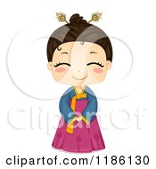 Cartoon Of A Cute Smiling Korean Girl Wearing A Traditional Costume Royalty Free Vector Clipart