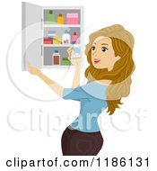 Cartoon Of A Woman Holding A Bottle By A Medicine Cabinet Royalty Free Vector Clipart by BNP Design Studio