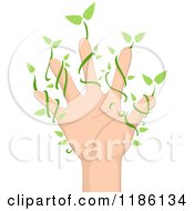 Cartoon Of A Hand With Leafy Vines Royalty Free Vector Clipart