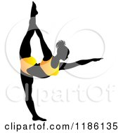 Clipart Of A Silhouetted Woman In An Orange Outfit Doing The NATARAJASANA Yoga Pose Royalty Free Vector Illustration by Lal Perera