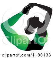 Clipart Of A Silhouetted Woman In A Green Outfit Doing The DHANURASANA Yoga Pose Royalty Free Vector Illustration by Lal Perera