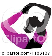 Clipart Of A Silhouetted Woman In A Purple Outfit Doing The DHANURASANA Yoga Pose Royalty Free Vector Illustration by Lal Perera