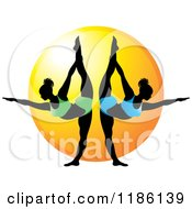 Clipart Of Two Women In The Yoga NATARAJASANA Pose Over The Sun Royalty Free Vector Illustration by Lal Perera