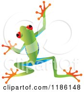 Clipart Of A Jumping Tree Frog Royalty Free Vector Illustration