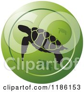 Clipart Of A Round Green Icon With Sea Turtles Royalty Free Vector Illustration by Lal Perera