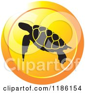 Clipart Of A Round Orange Icon With Sea Turtles Royalty Free Vector Illustration by Lal Perera