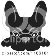 Clipart Of A Black Frenchie Dog Looking Over A Surface Royalty Free Vector Illustration