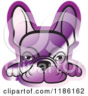 Clipart Of A Reflective Purple Frenchie Dog Looking Over A Surface Royalty Free Vector Illustration