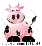 Clipart Of A Pink Cow Royalty Free Vector Illustration