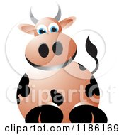 Clipart Of A Brown Cow Royalty Free Vector Illustration