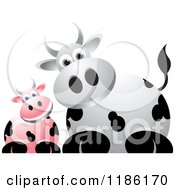 Clipart Of Curious Pink And White Cows Royalty Free Vector Illustration
