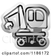 Clipart Of A Silver Mining Bulldozer Icon Royalty Free Vector Illustration