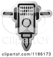 Clipart Of A Silver Mining Jackhammer Icon Royalty Free Vector Illustration