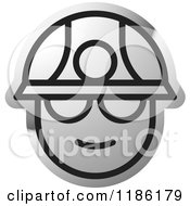 Clipart Of A Silver Miner Head Icon Royalty Free Vector Illustration by Lal Perera