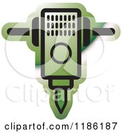 Clipart Of A Green Mining Jackhammer Icon Royalty Free Vector Illustration by Lal Perera