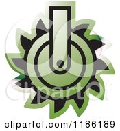 Clipart Of A Green Mining Saw Icon Royalty Free Vector Illustration