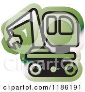 Clipart Of A Green Mining Bulldozer Icon Royalty Free Vector Illustration