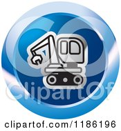 Clipart Of A Blue Mining Bulldozer Icon Royalty Free Vector Illustration