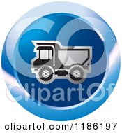 Clipart Of A Blue Mining Dump Truck Icon Royalty Free Vector Illustration by Lal Perera