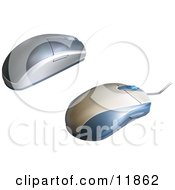 Corded And Wireless Computer Mouse Clipart Illustration