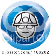 Clipart Of A Blue Miner Head Icon Royalty Free Vector Illustration by Lal Perera