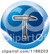 Clipart Of A Blue Mining Pickaxe Tool Icon 2 Royalty Free Vector Illustration