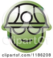 Clipart Of A Green Miner Head Icon Royalty Free Vector Illustration by Lal Perera