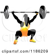 Clipart Of A Silhouetted Female Bodybuilder Lifting A Heavy Barbell And Wearing Orange Royalty Free Vector Illustration by Lal Perera