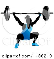 Clipart Of A Silhouetted Female Bodybuilder Lifting A Heavy Barbell And Wearing Blue Royalty Free Vector Illustration by Lal Perera