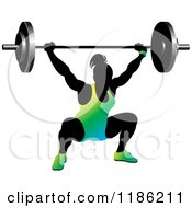 Clipart Of A Silhouetted Female Bodybuilder Lifting A Heavy Barbell And Wearing Gradient Royalty Free Vector Illustration