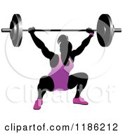 Clipart Of A Silhouetted Female Bodybuilder Lifting A Heavy Barbell And Wearing Purple Royalty Free Vector Illustration
