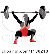Clipart Of A Silhouetted Female Bodybuilder Lifting A Heavy Barbell And Wearing Red Royalty Free Vector Illustration