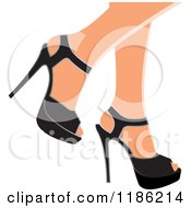 Clipart Of A Pair Of Womens Legs In Black High Heels Royalty Free Vector Illustration