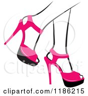 Clipart Of A Pair Of Black And White Womens Legs In Pink High Heels Royalty Free Vector Illustration