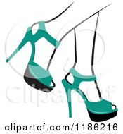 Clipart Of A Pair Of Black And White Womens Legs In Green High Heels Royalty Free Vector Illustration