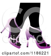 Clipart Of A Pair Of Black Womens Legs In Purple High Heels Royalty Free Vector Illustration