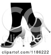 Clipart Of A Pair Of Black Womens Legs In Silver High Heels Royalty Free Vector Illustration