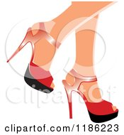 Clipart Of A Pair Of Womens Legs In Red High Heels Royalty Free Vector Illustration