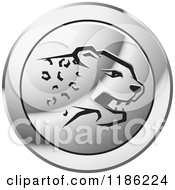 Clipart Of A Silver Cheetah Icon Royalty Free Vector Illustration